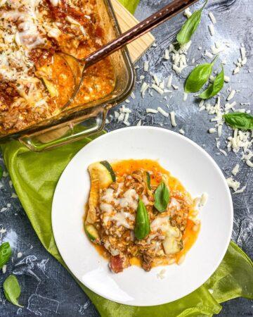 overhead picture of zucchini lasagna
