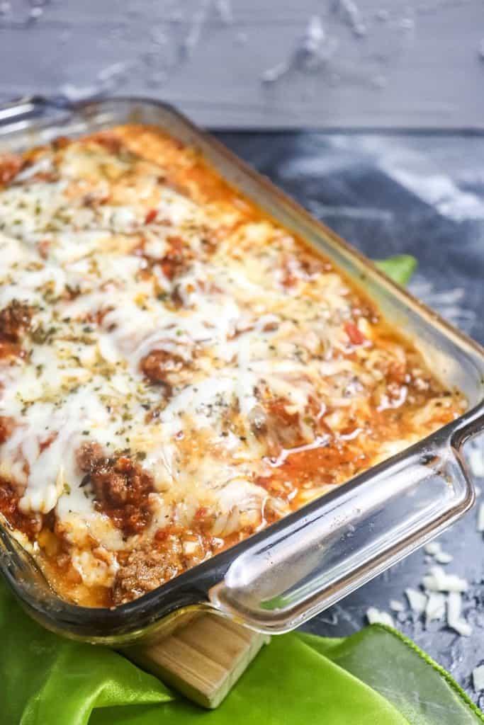 side angle photo of zucchini lasagna in dish