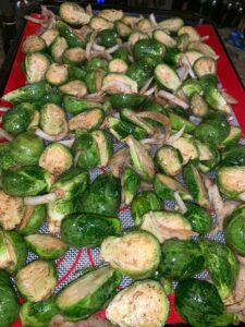 brussel sprouts, onions, balsamic