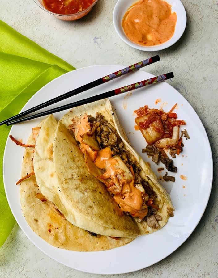 kimchi, pork, flour tortillas, sriracha