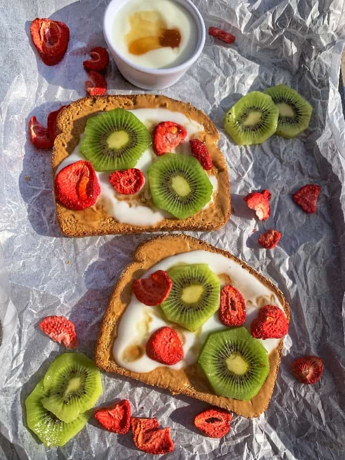 peanut butter, kiwi fruit, strawberries