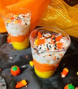 Candy corn, pudding, sprinkles