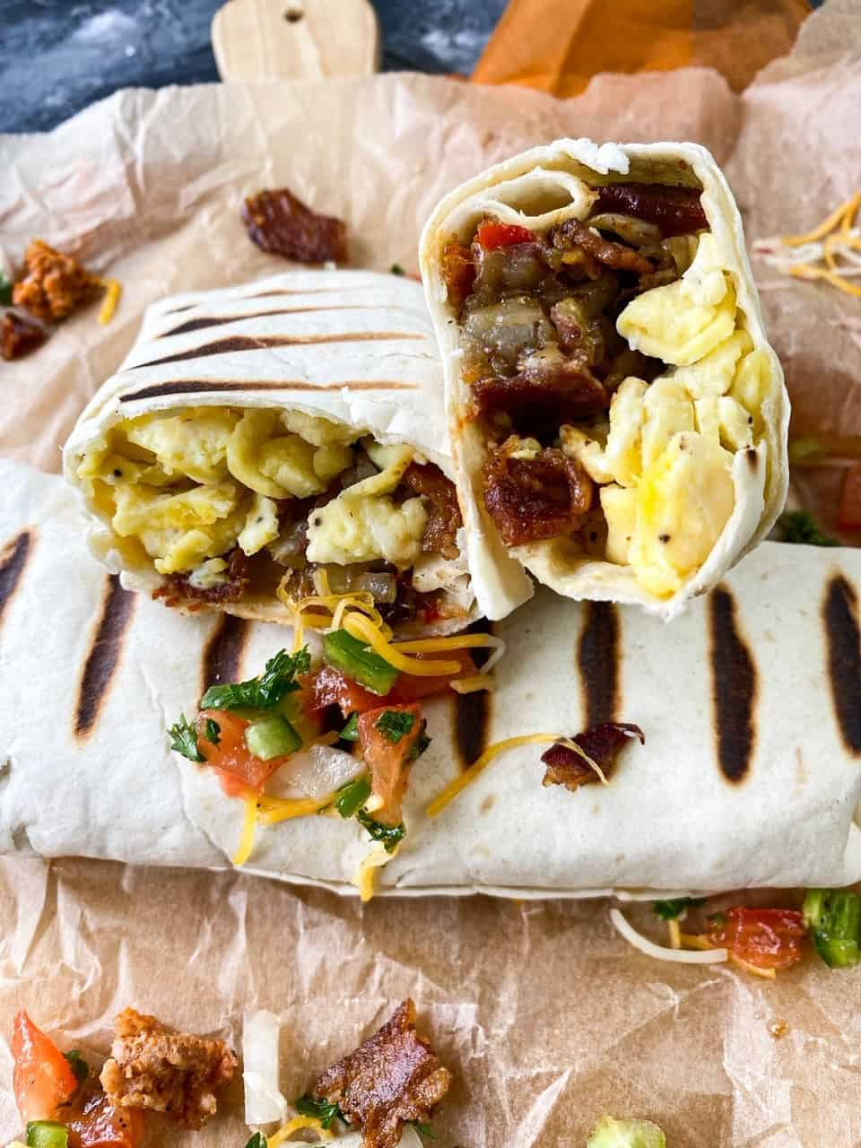 Cheesy Bacon Loaded Breakfast Burrito