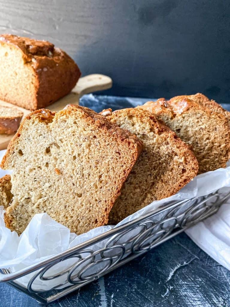 banana bread in basket