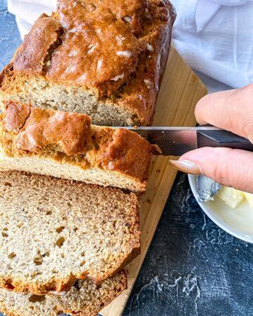 slicing the banana bread