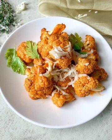 cauliflower, cheese, buffalo sauce
