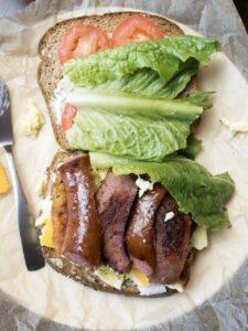 Meat lovers breakfast sandwich