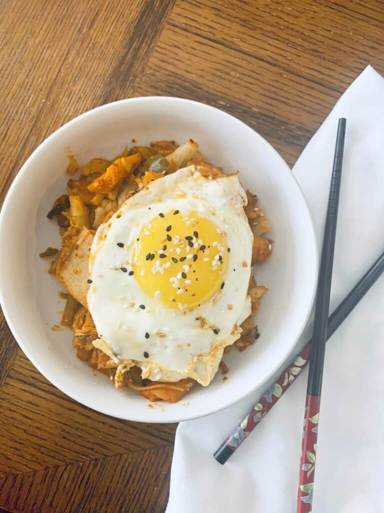 Korean inspired kimchi fried rice