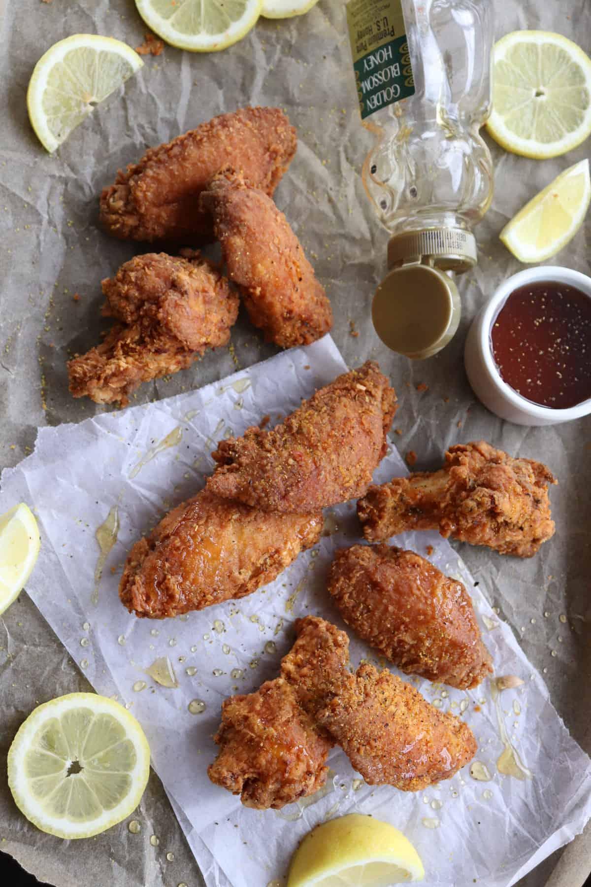 Lemon Pepper Honey Chicken Wings