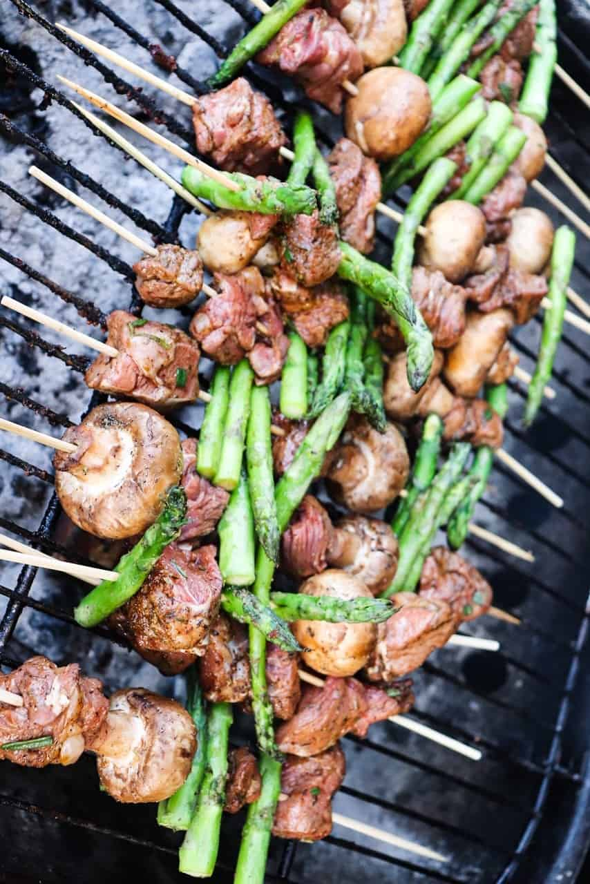 Steak Skewers with Mushrooms and Asparagus