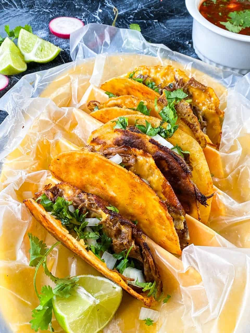 Birria Queso Tacos with Consomé