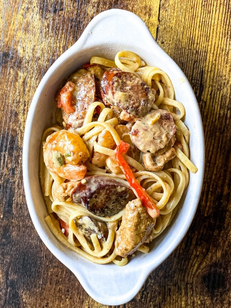 Creamy Rasta Pasta with Smoked Sausage and Chicken