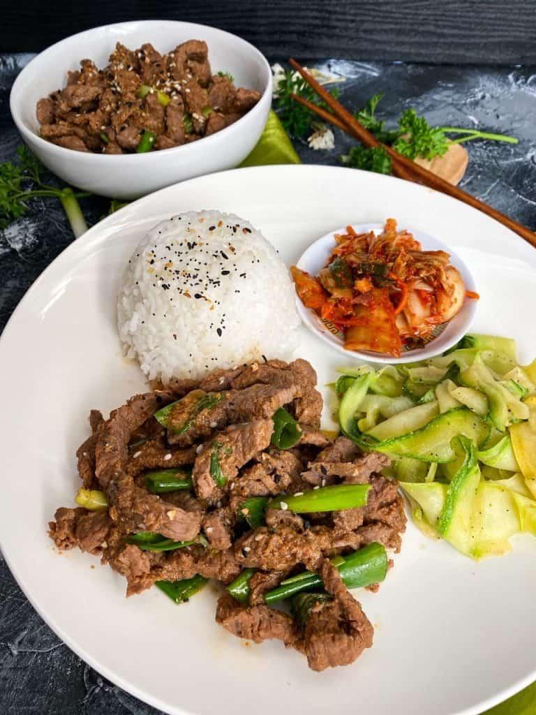 Korean Beef Bulgogi Recipe plated