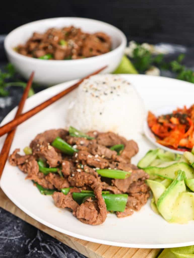overhead of plated Korean Beef Bulgogi Recipe