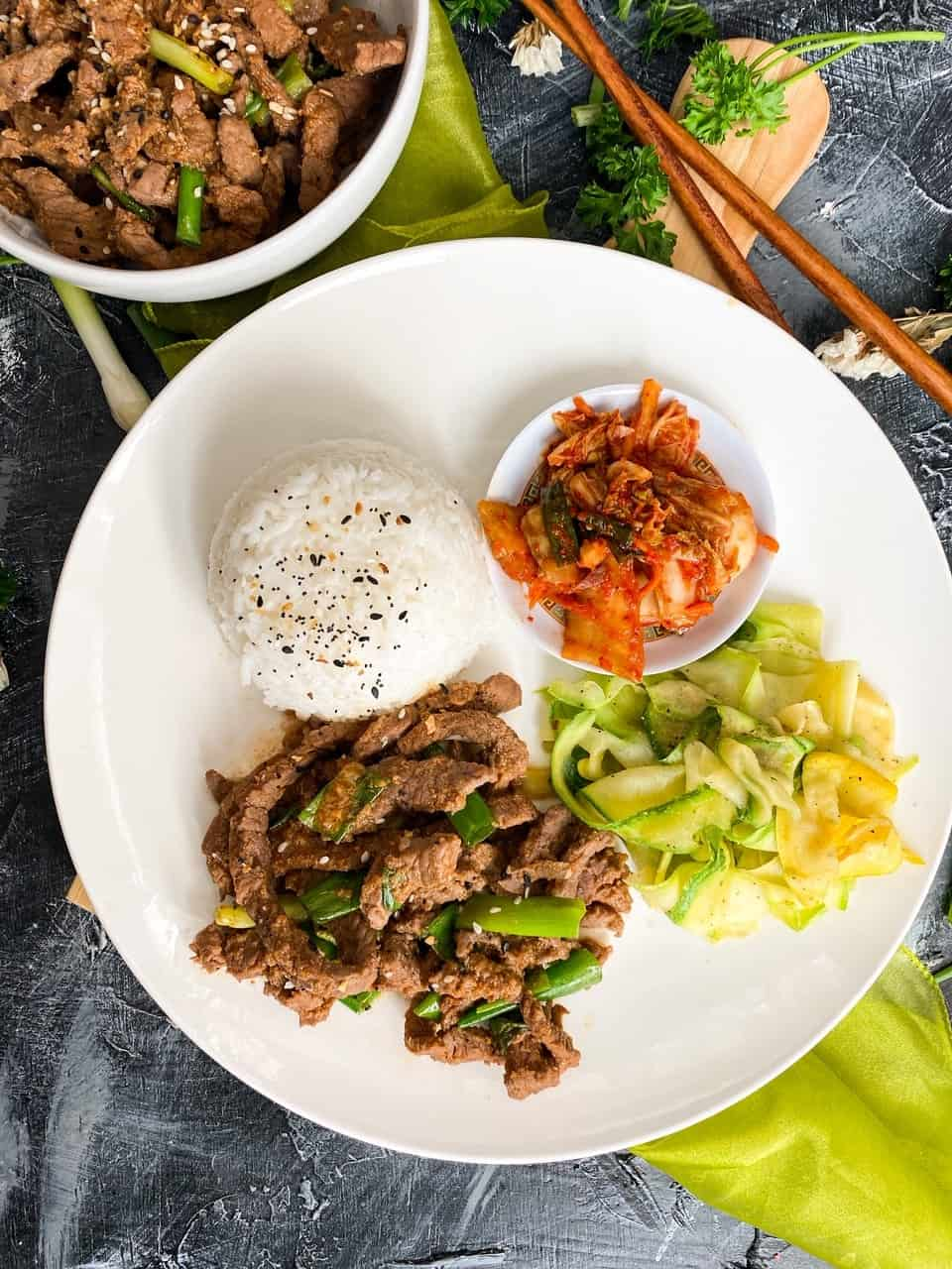 overhead of plated Korean Beef Bulgogi Recipe