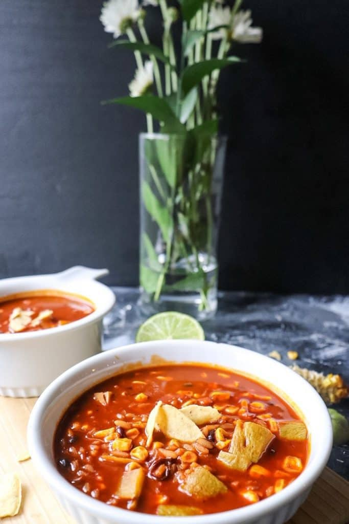 vegetarian tortilla soup w/ black beans and rice