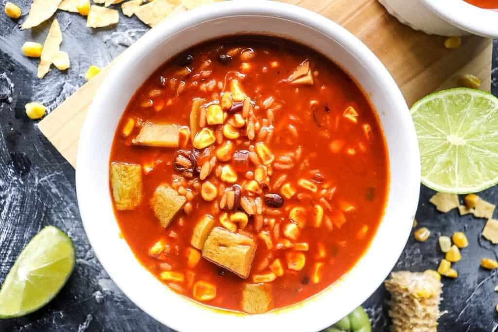 vegetarian tortilla soup with black beans and rice