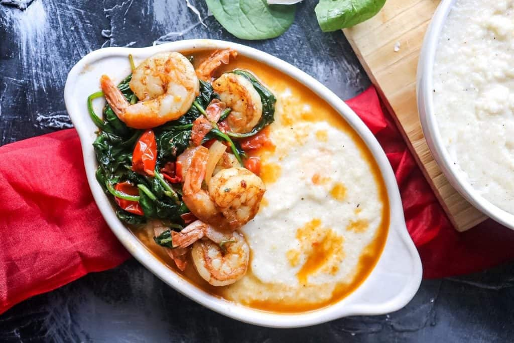 flatlay of a bowl of Garlic Butter Shrimp and Grits