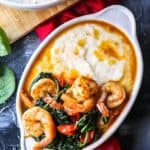 flatlay of Garlic Butter Shrimp and Grits