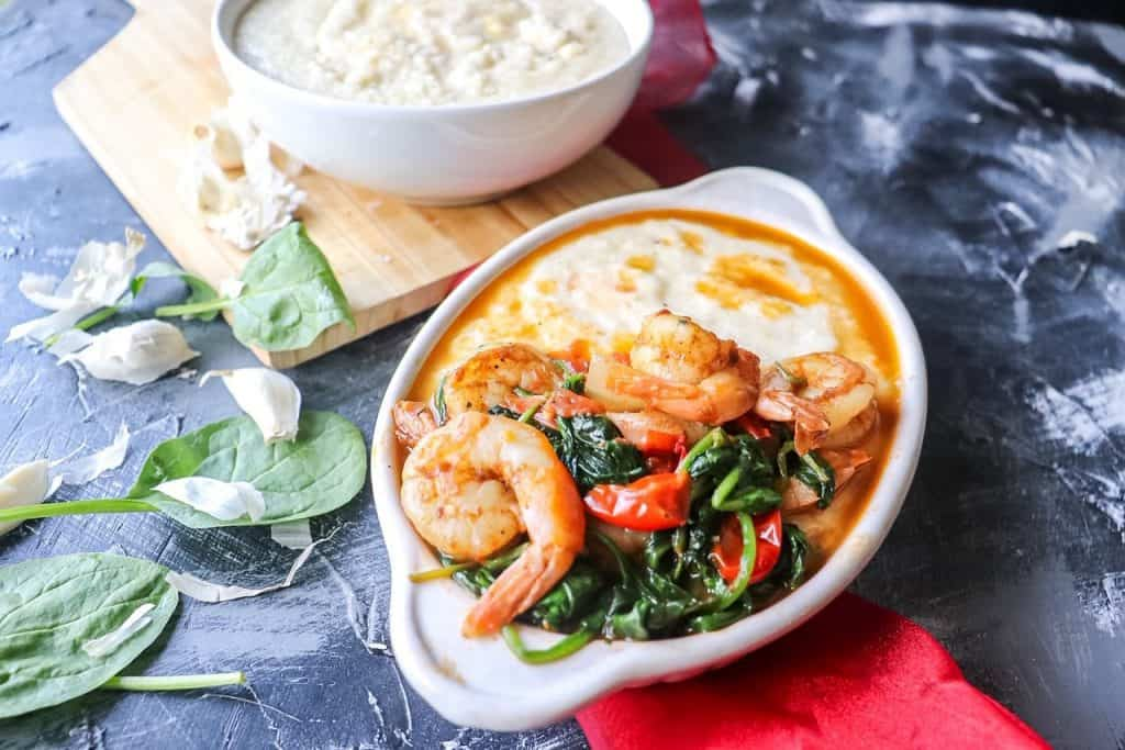 two bowls of Garlic Butter Shrimp and Grits