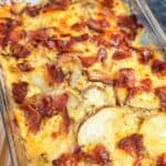 close-up of Cheesy Bacon Ranch Scalloped Potatoes