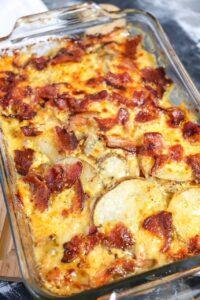 close-up of Cheesy Bacon Ranch Scalloped Potatoes