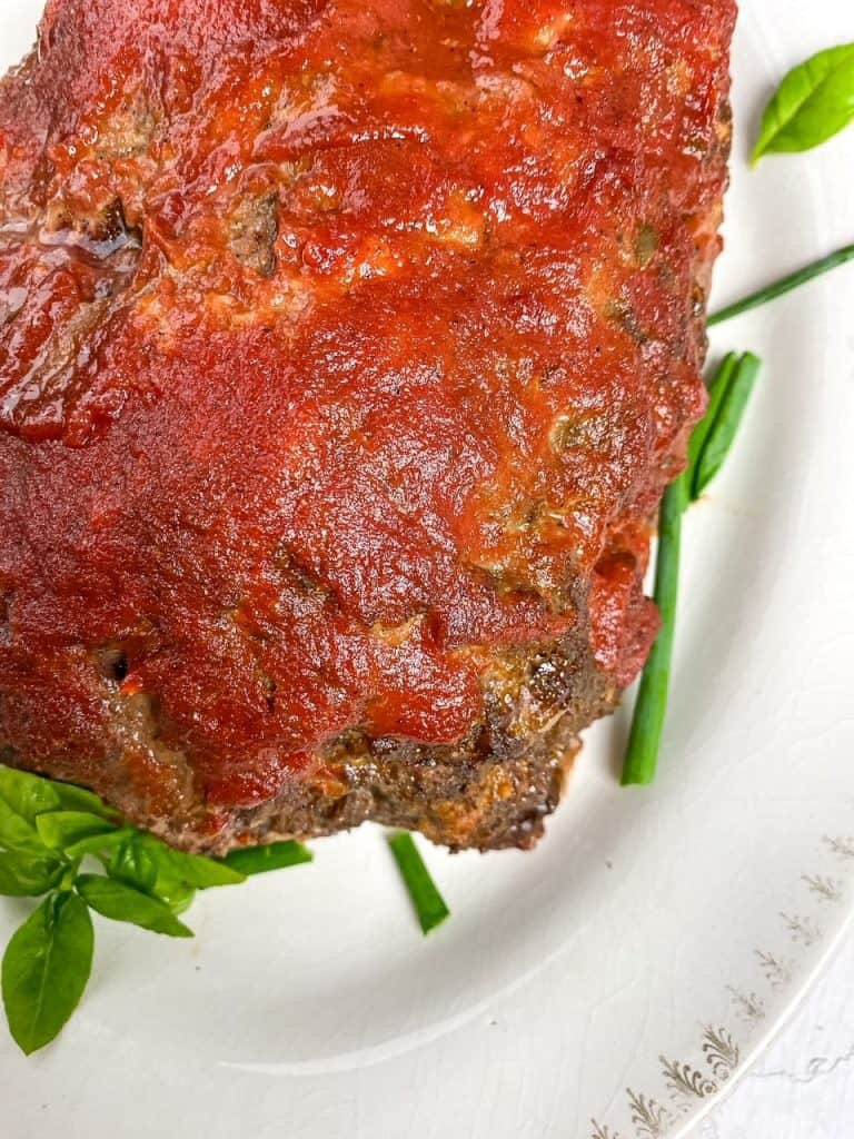 corner overhead view of whole meatloaf