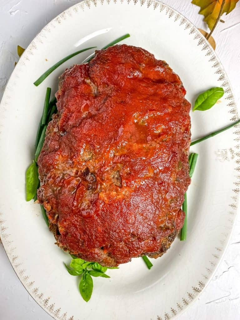 Overhead view of NaNa's Juicy Homestyle Meatloaf