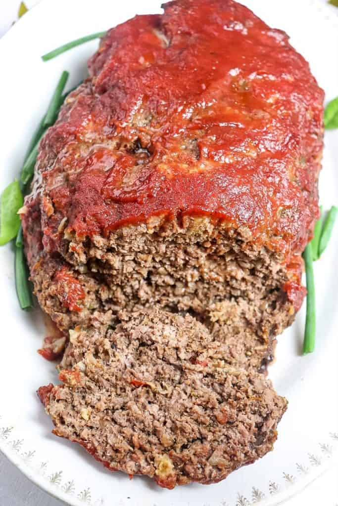 front angle of meatloaf sliced open