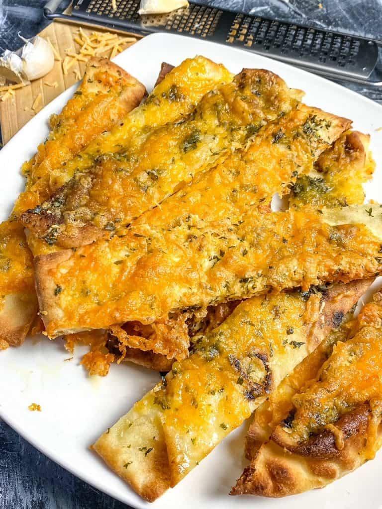Plated Air Fryer Cheesy Garlic Naan Bread