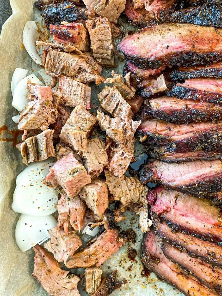slices and chunks of bbq beef brisket