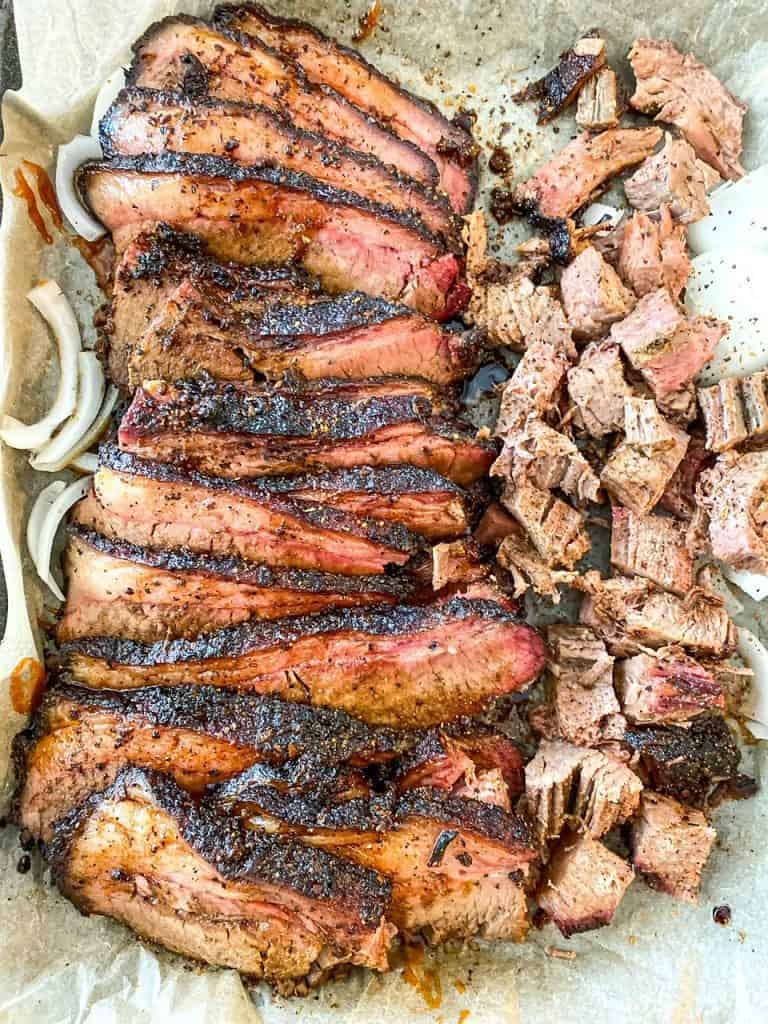sliced up smoked beef brisket
