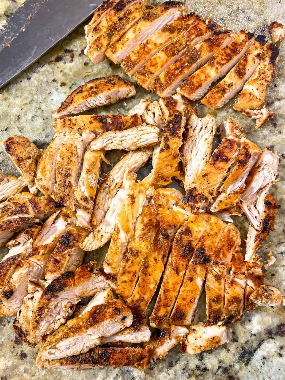 blackened chicken breast sliced up