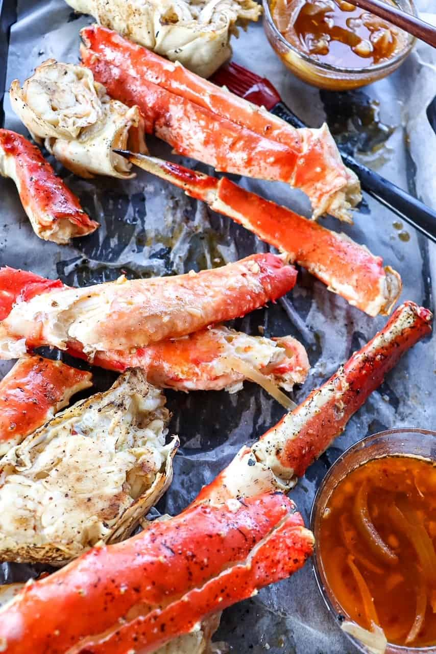 Grilled King Crab Legs with Garlic Butter Seafood Sauce