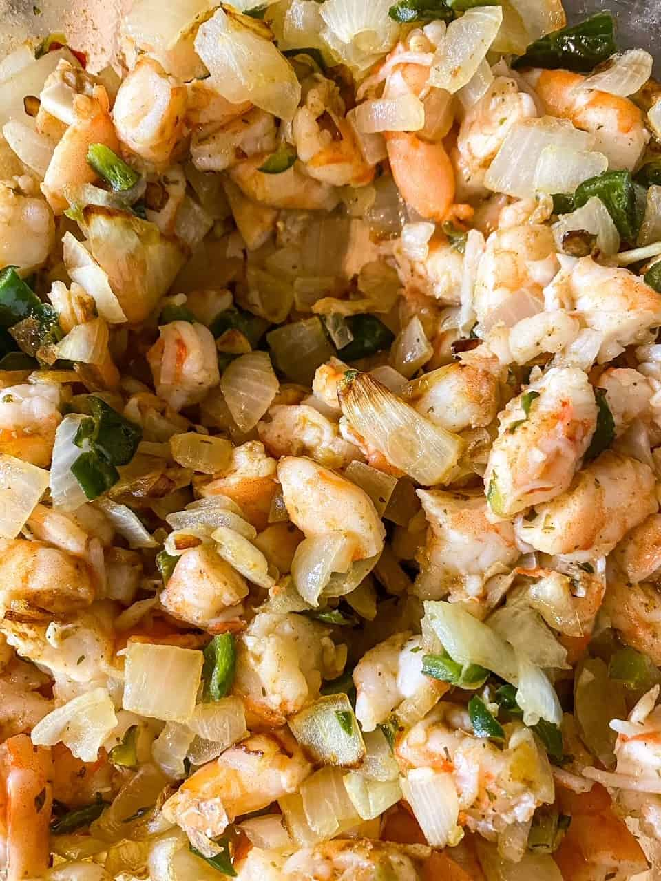 marinated shrimp mixed with onions and peppers