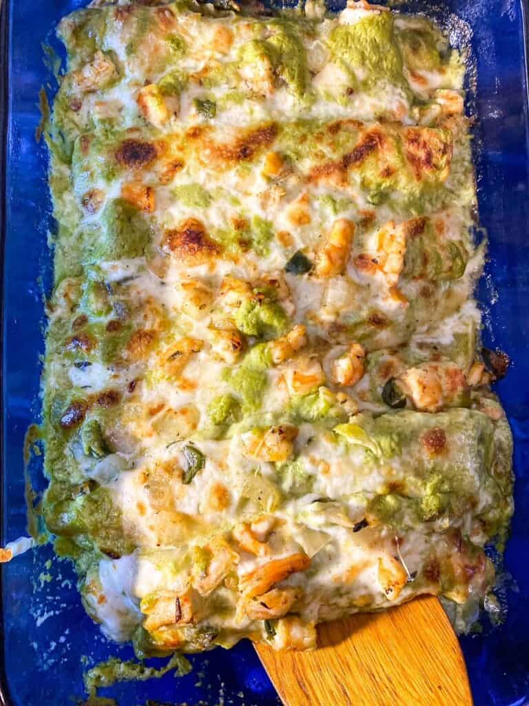 overhead view of entire dish or shrimp enchiladas