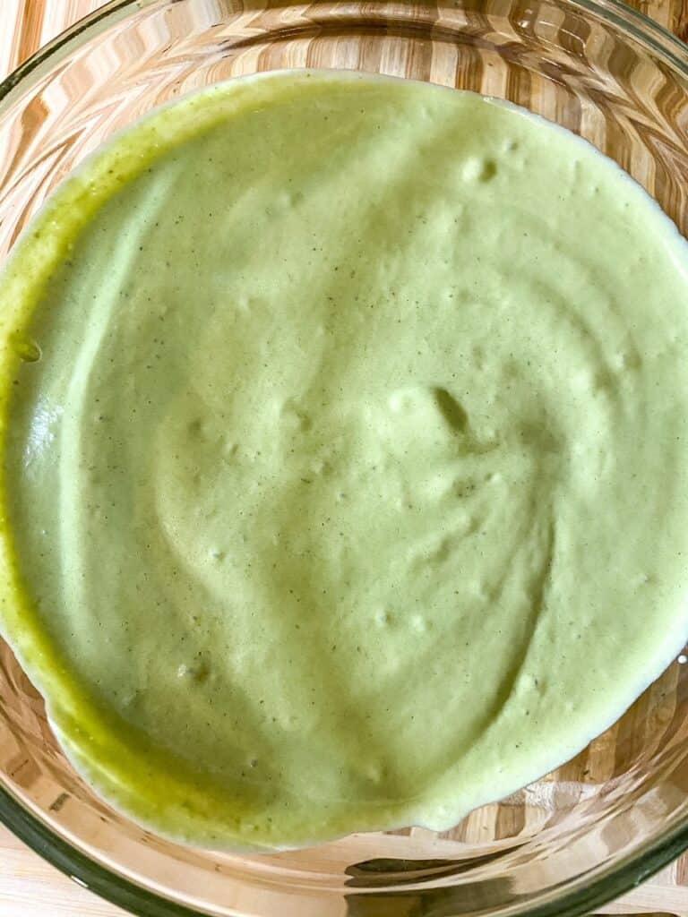 creamy poblano sauce in a bowl