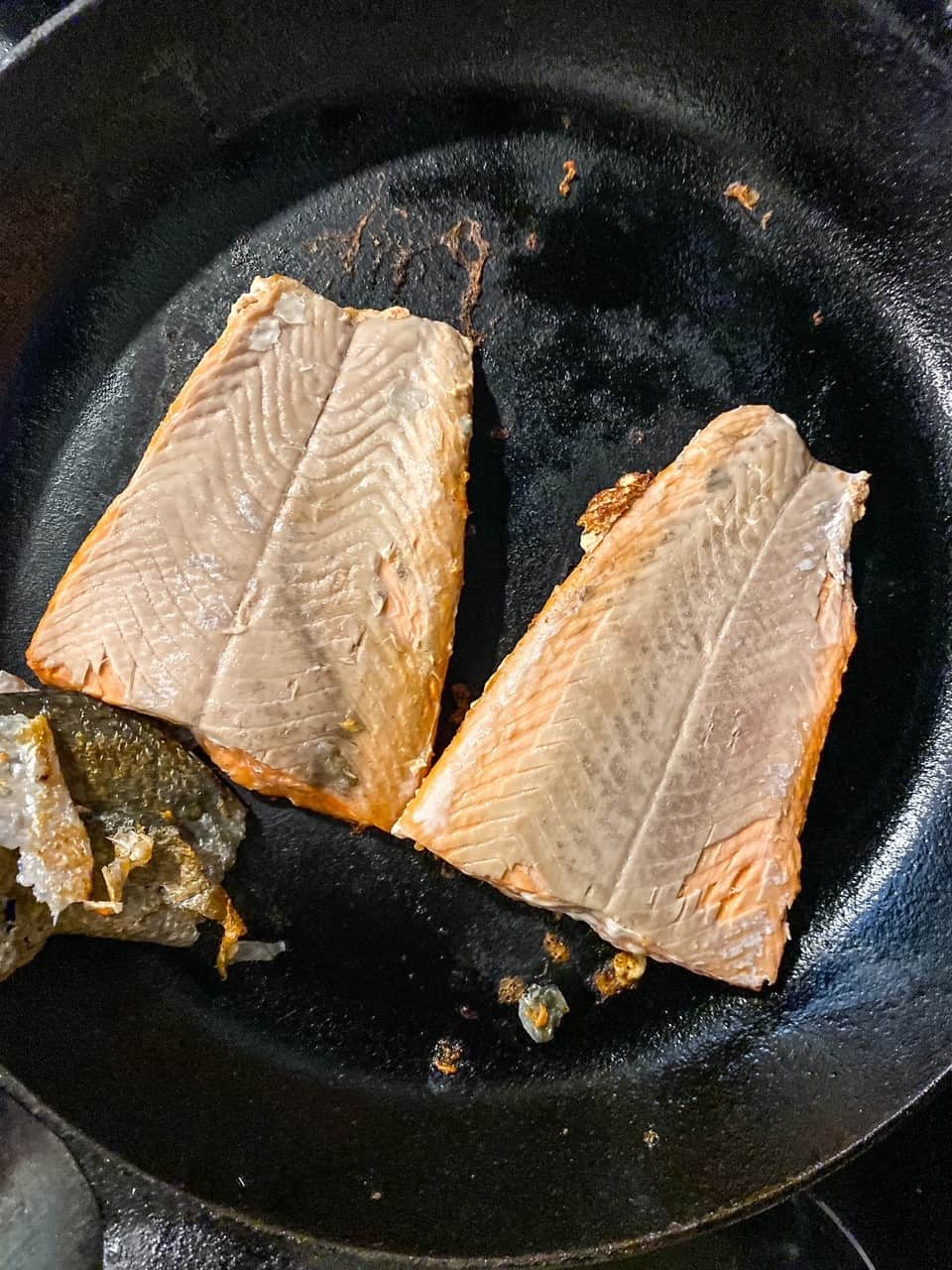 blackening salmon in a cast iron skillet