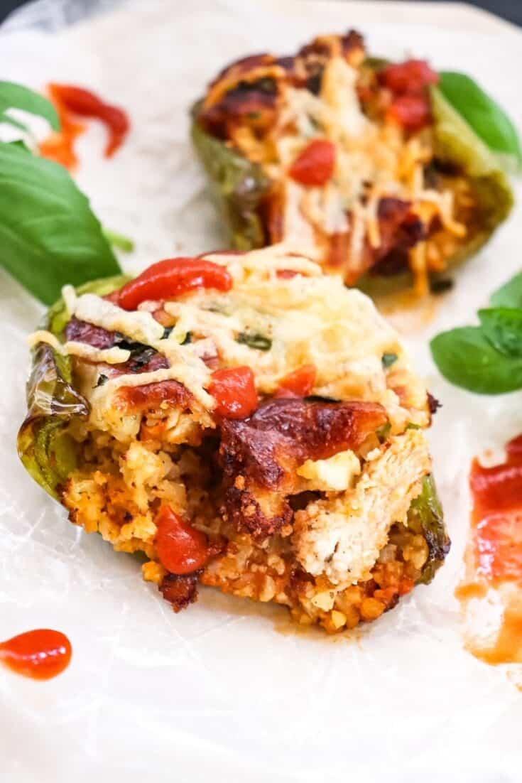 close-up of chicken parmesan stuffed pepper