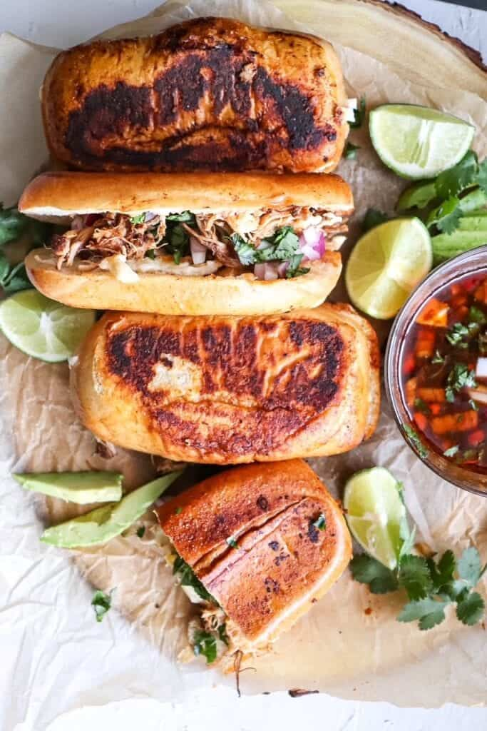 overhead view of chicken birria grilled cheese sandwiches