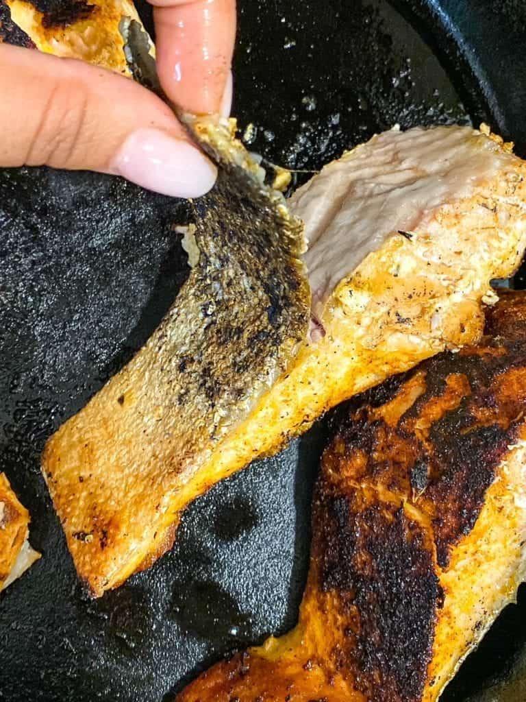 remove skin from blackened salmon