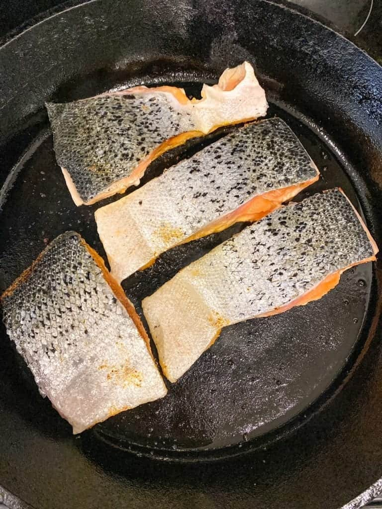 salmon in cast iron