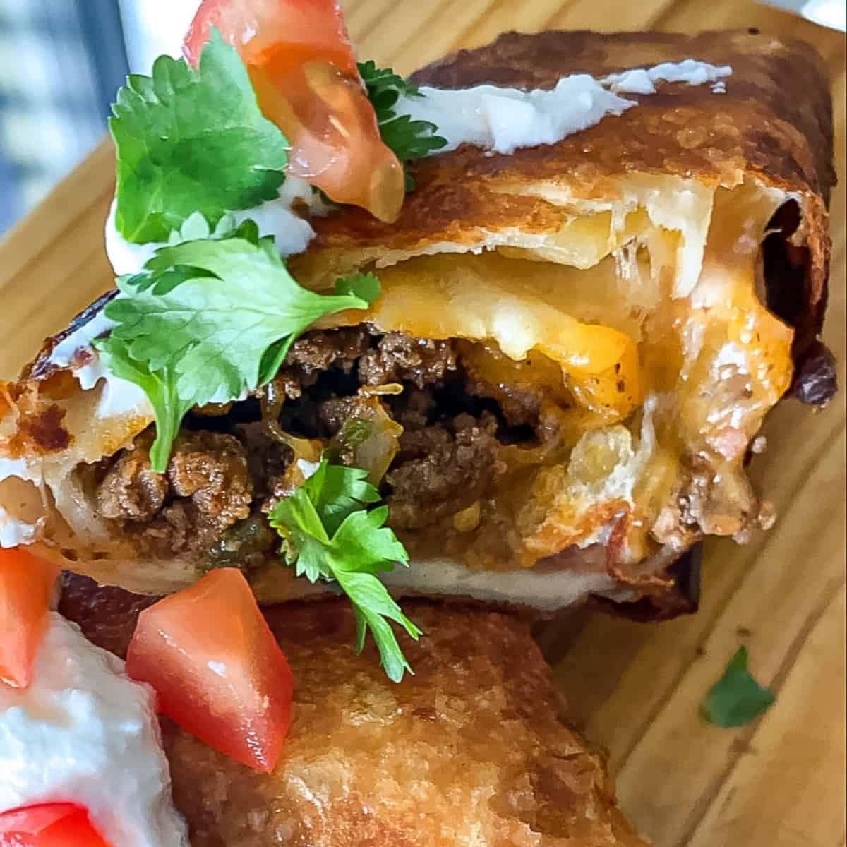 close up of beef and cheese chimichanga