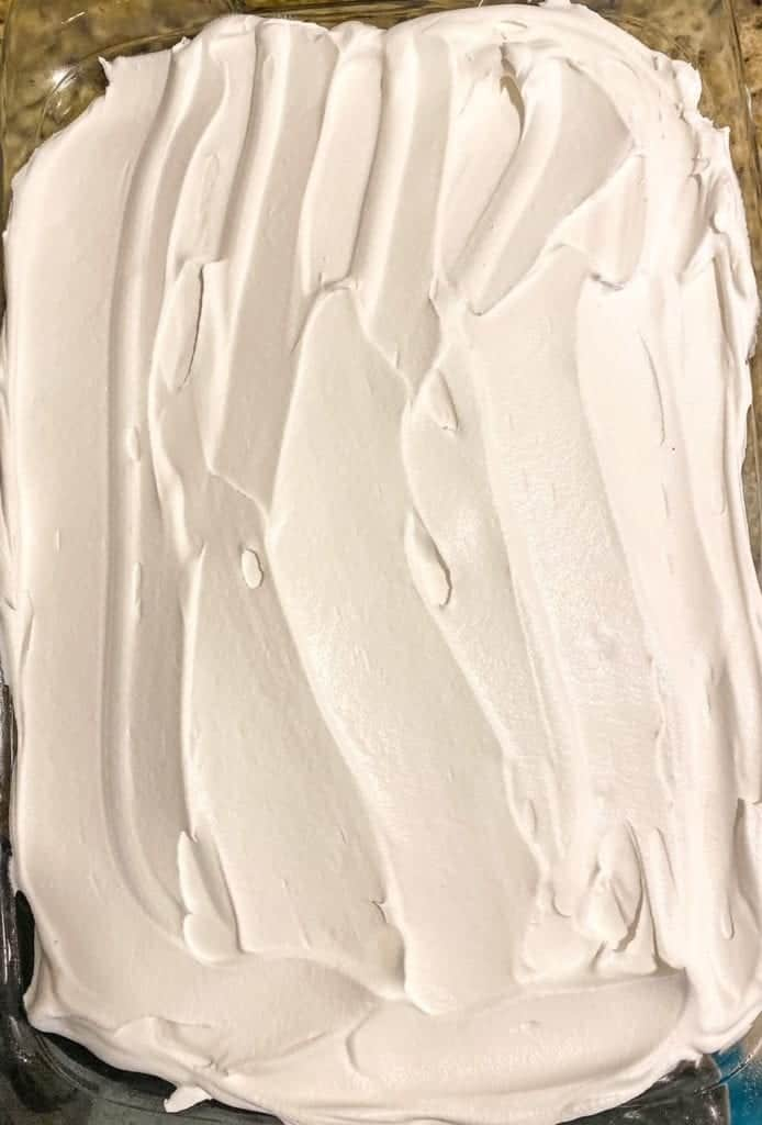 whipped cream layer on the cake
