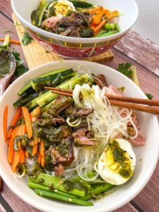 bowl with vermicelli noodles and vegetables